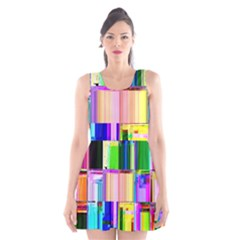 Glitch Art Abstract Scoop Neck Skater Dress
