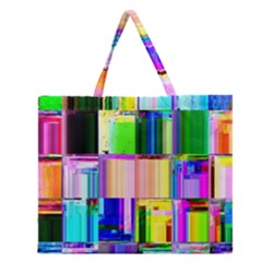 Glitch Art Abstract Zipper Large Tote Bag