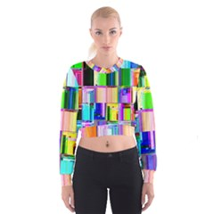 Glitch Art Abstract Cropped Sweatshirt