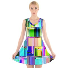 Glitch Art Abstract V-Neck Sleeveless Skater Dress