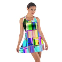 Glitch Art Abstract Cotton Racerback Dress