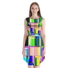 Glitch Art Abstract Sleeveless Chiffon Dress