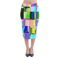 Glitch Art Abstract Midi Pencil Skirt