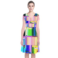 Glitch Art Abstract Short Sleeve Front Wrap Dress