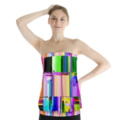Glitch Art Abstract Strapless Top