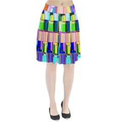 Glitch Art Abstract Pleated Skirt