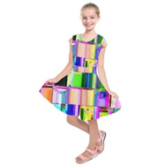 Glitch Art Abstract Kids  Short Sleeve Dress