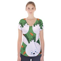 Easter bunny  Short Sleeve Front Detail Top