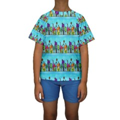 Colourful Street A Completely Seamless Tile Able Design Kids  Short Sleeve Swimwear