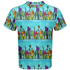 Colourful Street A Completely Seamless Tile Able Design Men s Cotton Tee