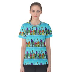 Colourful Street A Completely Seamless Tile Able Design Women s Cotton Tee