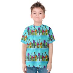 Colourful Street A Completely Seamless Tile Able Design Kids  Cotton Tee