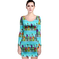 Colourful Street A Completely Seamless Tile Able Design Long Sleeve Bodycon Dress