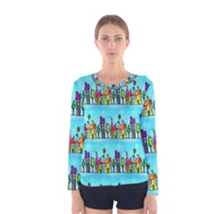 Colourful Street A Completely Seamless Tile Able Design Women s Long Sleeve Tee