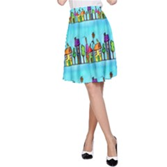 Colourful Street A Completely Seamless Tile Able Design A-Line Skirt
