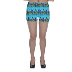 Colourful Street A Completely Seamless Tile Able Design Skinny Shorts