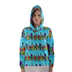 Colourful Street A Completely Seamless Tile Able Design Hooded Wind Breaker (Women)