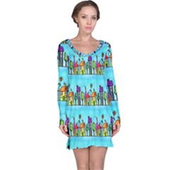 Colourful Street A Completely Seamless Tile Able Design Long Sleeve Nightdress