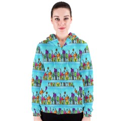 Colourful Street A Completely Seamless Tile Able Design Women s Zipper Hoodie