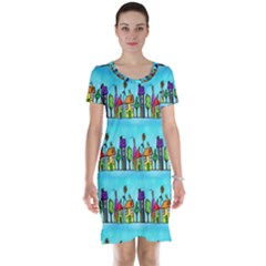 Colourful Street A Completely Seamless Tile Able Design Short Sleeve Nightdress