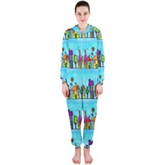 Colourful Street A Completely Seamless Tile Able Design Hooded Jumpsuit (ladies)