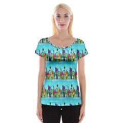Colourful Street A Completely Seamless Tile Able Design Women s Cap Sleeve Top