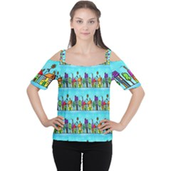 Colourful Street A Completely Seamless Tile Able Design Women s Cutout Shoulder Tee