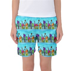 Colourful Street A Completely Seamless Tile Able Design Women s Basketball Shorts