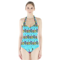 Colourful Street A Completely Seamless Tile Able Design Halter Swimsuit