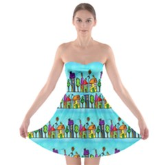 Colourful Street A Completely Seamless Tile Able Design Strapless Bra Top Dress