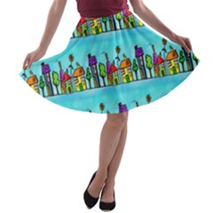 Colourful Street A Completely Seamless Tile Able Design A-line Skater Skirt
