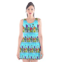 Colourful Street A Completely Seamless Tile Able Design Scoop Neck Skater Dress