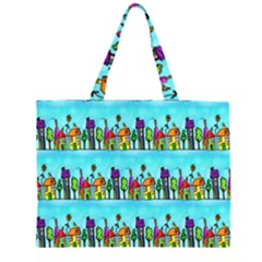 Colourful Street A Completely Seamless Tile Able Design Zipper Large Tote Bag