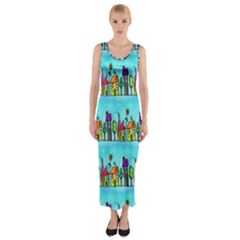 Colourful Street A Completely Seamless Tile Able Design Fitted Maxi Dress