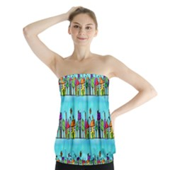 Colourful Street A Completely Seamless Tile Able Design Strapless Top