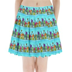 Colourful Street A Completely Seamless Tile Able Design Pleated Mini Skirt