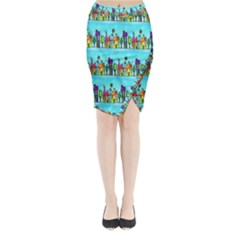 Colourful Street A Completely Seamless Tile Able Design Midi Wrap Pencil Skirt