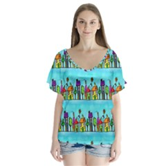 Colourful Street A Completely Seamless Tile Able Design Flutter Sleeve Top