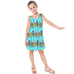 Colourful Street A Completely Seamless Tile Able Design Kids  Sleeveless Dress
