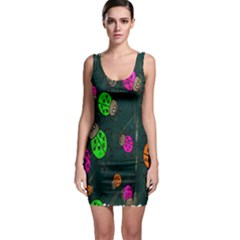 Cartoon Grunge Beetle Wallpaper Background Sleeveless Bodycon Dress