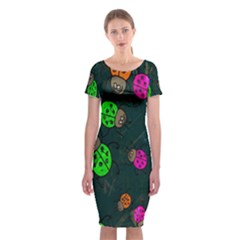 Cartoon Grunge Beetle Wallpaper Background Classic Short Sleeve Midi Dress