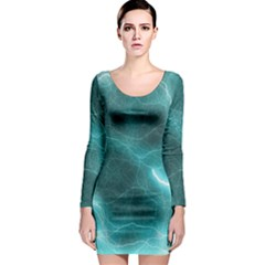 Light Web Colorful Web Of Crazy Lightening Long Sleeve Bodycon Dress