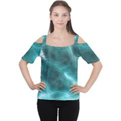 Light Web Colorful Web Of Crazy Lightening Women s Cutout Shoulder Tee