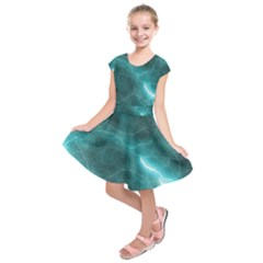 Light Web Colorful Web Of Crazy Lightening Kids  Short Sleeve Dress