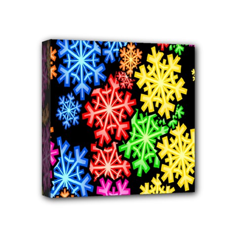 Colourful Snowflake Wallpaper Pattern Mini Canvas 4  x 4