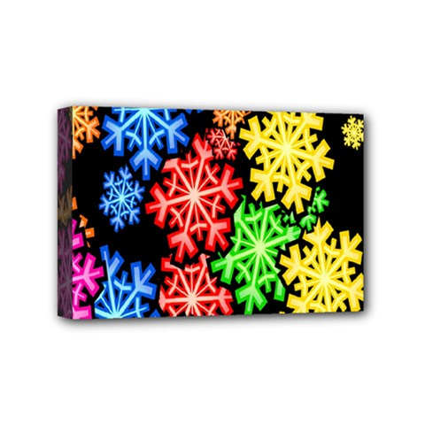 Colourful Snowflake Wallpaper Pattern Mini Canvas 6  X 4