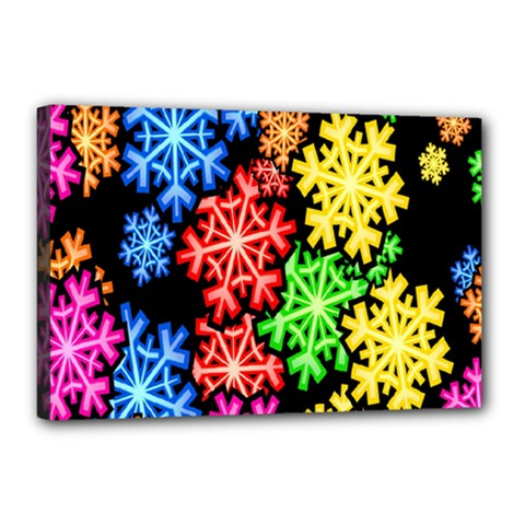 Colourful Snowflake Wallpaper Pattern Canvas 18  X 12