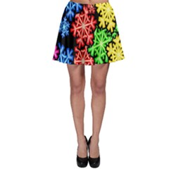 Colourful Snowflake Wallpaper Pattern Skater Skirt