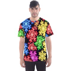 Colourful Snowflake Wallpaper Pattern Men s Sport Mesh Tee