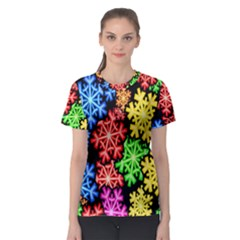 Colourful Snowflake Wallpaper Pattern Women s Sport Mesh Tee